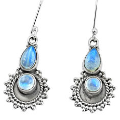 5.98cts natural rainbow moonstone 925 sterling silver dangle earrings p5818