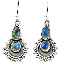 6.26cts natural blue labradorite 925 sterling silver dangle earrings p5819