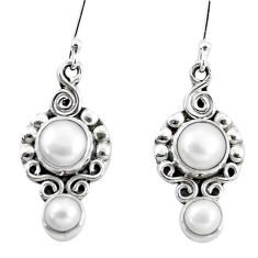 5.87cts natural white pearl 925 sterling silver dangle earrings jewelry p5823