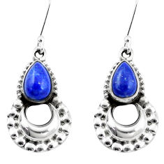 5.13cts natural blue lapis lazuli 925 sterling silver dangle earrings p5842