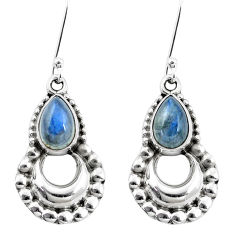 5.31cts natural blue labradorite 925 sterling silver dangle earrings p5851