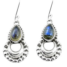 5.31cts natural blue labradorite 925 sterling silver dangle earrings p5854