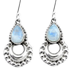 5.54cts natural rainbow moonstone 925 sterling silver dangle earrings p5858