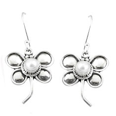 1.70cts natural white pearl 925 sterling silver butterfly earrings p5865