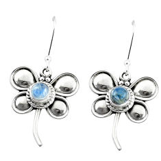 925 sterling silver 1.87cts natural rainbow moonstone butterfly earrings p5877