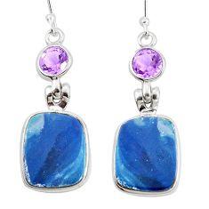 7.25cts natural blue doublet opal australian amethyst 925 silver earrings p5944