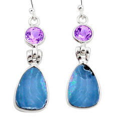 6.25cts natural blue doublet opal australian amethyst 925 silver earrings p5949