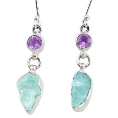9.98cts natural aqua aquamarine rough amethyst 925 silver dangle earrings p6608