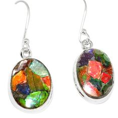 14.02cts natural multicolor ammolite triplets 925 silver dangle earrings p6945