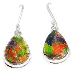14.02cts natural multicolor ammolite triplets 925 silver dangle earrings p6950