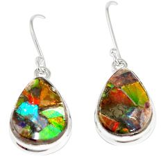 12.62cts natural multicolor ammolite triplets 925 silver dangle earrings p6955