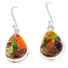 13.06cts natural multicolor ammolite triplets 925 silver dangle earrings p6959