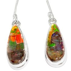 11.69cts natural multicolor ammolite triplets 925 silver dangle earrings p6961