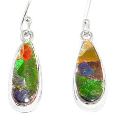 12.62cts natural multicolor ammolite triplets 925 silver dangle earrings p6970