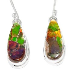 12.53cts natural multicolor ammolite triplets 925 silver dangle earrings p6976