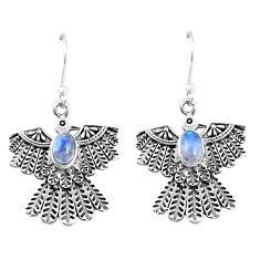 2.74cts natural rainbow moonstone 925 silver dangle eagle charm earrings p7361
