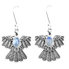 2.85cts natural blue labradorite 925 silver dangle eagle charm earrings p7365