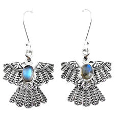 925 sterling silver 2.83cts natural blue labradorite eagle charm earrings p7366