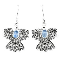 2.73cts natural rainbow moonstone 925 sterling silver eagle charm earrings p7368