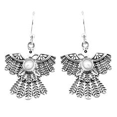 1.76cts natural white pearl 925 sterling silver eagle charm earrings p7375