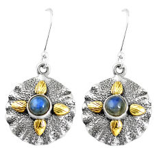2.06cts victorian natural blue labradorite 925 silver two tone earrings p7511
