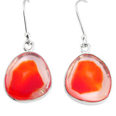 14.14cts natural orange botswana druzy agate 925 silver dangle earrings p8451