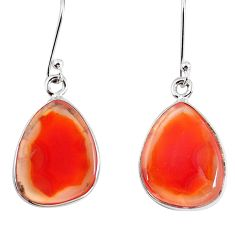 13.15cts natural orange botswana druzy agate 925 silver dangle earrings p8457