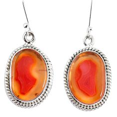 925 silver 14.45cts natural orange botswana druzy agate dangle earrings p8464