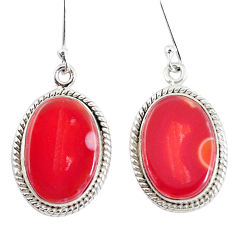 925 silver 16.54cts natural orange botswana druzy agate dangle earrings p8467