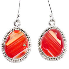 15.02cts natural orange botswana druzy agate 925 silver dangle earrings p8477