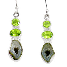 12.07cts natural brown geode druzy peridot 925 silver dangle earrings p8881