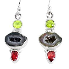 12.36cts natural brown geode druzy peridot garnet 925 silver earrings p8882