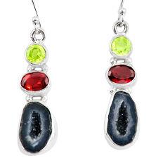 12.83cts natural brown geode druzy peridot garnet 925 silver earrings p8883