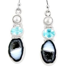 13.71cts natural brown geode druzy topaz pearl 925 silver dangle earrings p8886