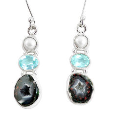 925 silver 13.28cts natural brown geode druzy topaz pearl dangle earrings p8894