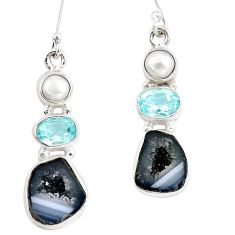 12.07cts natural brown geode druzy topaz pearl 925 silver dangle earrings p8895