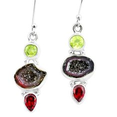 11.66cts natural brown geode druzy peridot garnet 925 silver earrings p8896