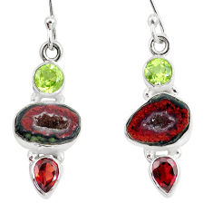 925 silver 12.36cts natural brown geode druzy peridot garnet earrings p8897