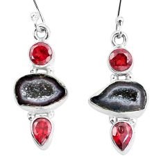 11.25cts natural brown geode druzy garnet 925 silver dangle earrings p8898