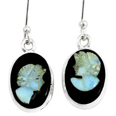 9.57cts natural black opal cameo on black onyx 925 silver earrings p8995
