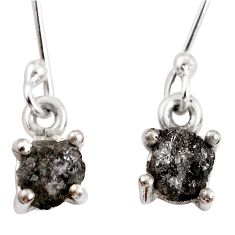 4.29cts natural certified diamond rough 925 sterling silver earrings p92945