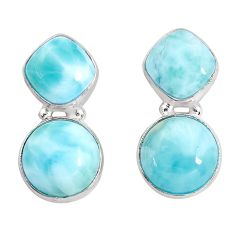 17.22cts natural blue larimar 925 sterling silver stud earrings jewelry p93321