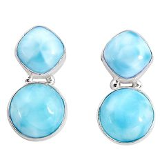 925 sterling silver 16.73cts natural blue larimar stud earrings jewelry p93324