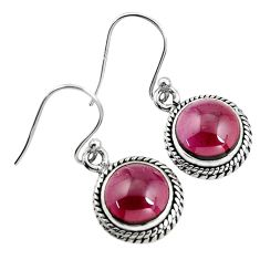 925 sterling silver 7.04cts natural red garnet dangle earrings jewelry p93478