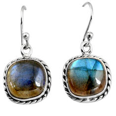 9.96cts natural blue labradorite 925 sterling silver dangle earrings p93522
