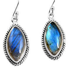 11.21cts natural blue labradorite 925 sterling silver dangle earrings p93526