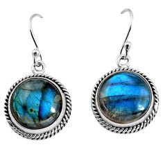 13.26cts natural blue labradorite 925 sterling silver dangle earrings p93537