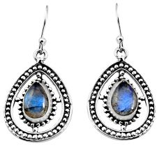 4.92cts natural blue labradorite 925 sterling silver dangle earrings p93541