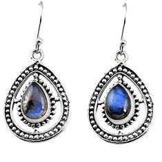 5.11cts natural blue labradorite 925 sterling silver dangle earrings p93542