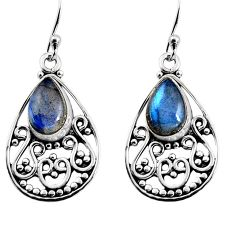4.92cts natural blue labradorite 925 sterling silver dangle earrings p93543
